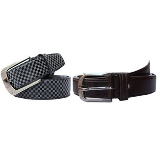 Winsome Deal Gray And Brown Leather Belt For Men (Combo of 2)