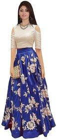 Trilok Fashion Women's Blue Off-White Banglori Silk Embroidered  Crop Top(Semi StitchedFree SizePD101CT1001)