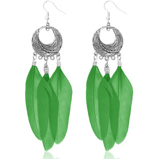 JewelMaze Rhodium Plated Green Feather Earrings