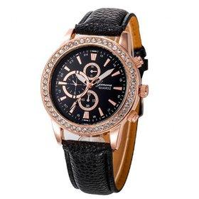 Wonder Round Cronograph Pettern Black Leather Belt Wris
