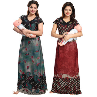 Be You Green-Red Floral Maternity Gowns Combo Pack of 2