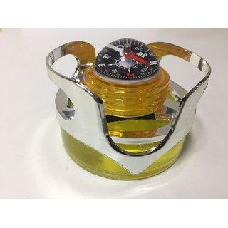 Skycandle Compass Shaped Car Air Purifier / Air Freshener - Removes Dust , Smoke  Bad Odors For Car Dashboard (Lemon)