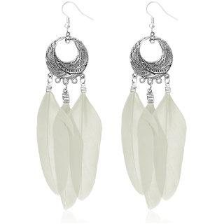 JewelMaze Rhodium Plated White Feather Earrings