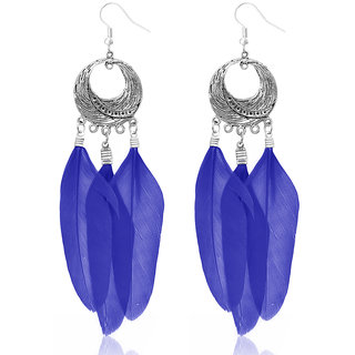 JewelMaze Rhodium Plated Blue Feather Earrings