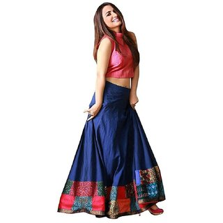 Active Tapeta Silk Digital Printed Lehenga Choli For Women (BlueFree Size)-S028-Udan-Blue