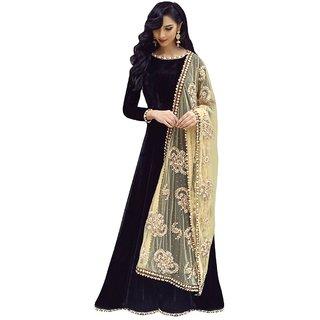 Active Womens Taffeta Silk Net Dupatta Designer Streight Gown(Free SizeBlack)-G034-Buddy Black