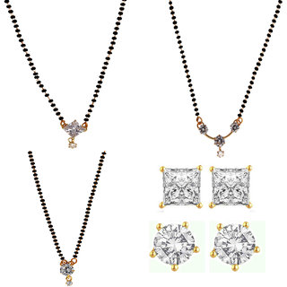 Chrishan Gold Plated Marvelous Fashionable Stylish Earring And Mangalsutra Combo Set For Women.
