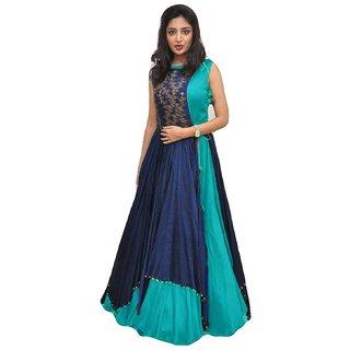 Active Womens Banglory Silk And Tapeta Designer Anarkali Gown (Free SizeSky Blue)-G029-Poonam-Sky Blue