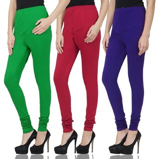 Savage Comfortable Stylish Cotton Lycra Churidar Ankle Length Women Leggings Green, Blue, Maroon Color, Pack Of 3