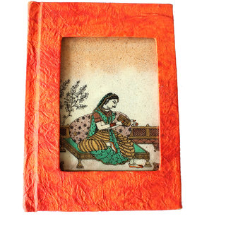 Splendid Indian Traditional Miniature Gemstone Painting on Glass Handmade Recycled Paper Address Book (Diary)