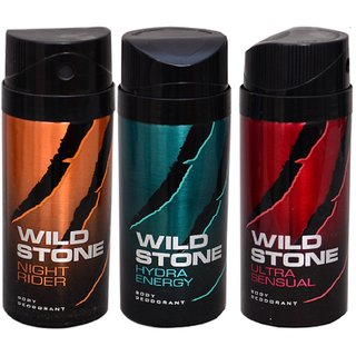 WiLD STONE Night rider,Hydra Energy  Ultra Sensual (each 150ml) Pack of 3