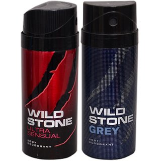 WiLD STONE Ultra Sensual & Grey (each 150ml) Pack of 2