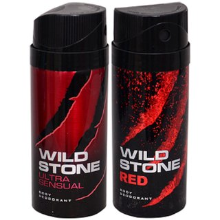 WiLD STONE Ultra Sensual & Red (each 150ml) Pack of 2