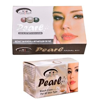 Pink Root Pearl Bleach 250 gm and Pink Root Pearl Facial Kit 270g+54g+10ml Pack of 2