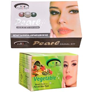 Pink Root Vegetable Bleach 250 gm and Pink Root Pearl Facial Kit 270g+54g+10ml Pack of 2