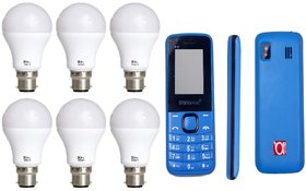 Alpha pro 7 watt pack of 6 led Bulbs (1 year warranty on bulbs) with free 1.8 inches feature phone