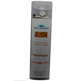 Suvasane Agarbatti Champa Fragrance 90 sticks per pack Black 9 sticks in transparent pillow box