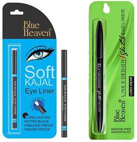 Blue Heaven (Line  Design Sketch Eyeliner)  (Soft kajal) Long Lasting combo