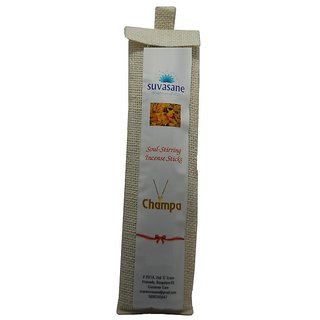 Suvasane Agarbatti Champa Fragrance 90 sticks per pack Black 9 sticks in jute bag