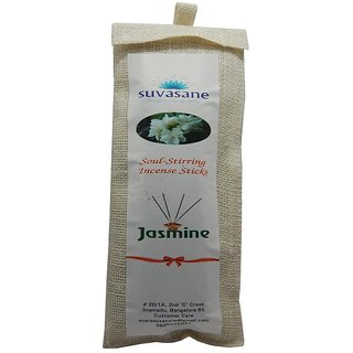 Suvasane Agarbatti Jasmine Fragrance 120 sticks per pack Black 9 sticks in jute bag
