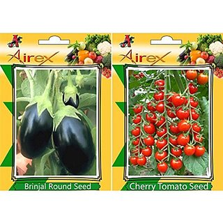 Airex Brinjal Round And Cherry Tomato Vegetables Seeds (Pack Of 25 Seeds*2 Per Packet)