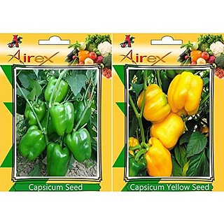 Airex Green Capsicum And Capsicum Yellow Vegetables Seeds (Pack Of 25 Seeds*2 Per Packet)