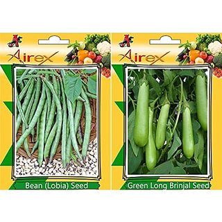 Airex Lobia (Bean) And Green Long Brinjal Vegetables Seeds (Pack Of 25 Seeds*2 Per Packet)