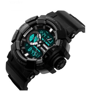 SKMEI Analog-Digital Black Dial Mens Watch-AD1117