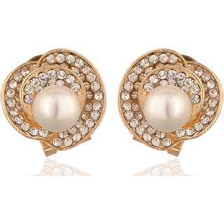 Fab Jewel Fashionable Gold Pearl  Metal Stud Earrings