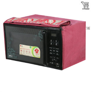 E-Retailer Mehroon Leaves Printed Microwave Oven Cover For 25 LTR