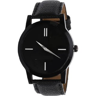 HRV KJR-7Round Dial Black Leather Strap Men Quartz Watch for Men-KJR7