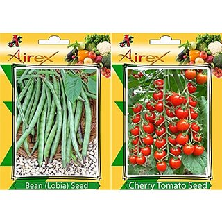 Airex Lobia (Bean) And Cherry Tomato Vegetables Seeds (Pack Of 25 Seeds*2 Per Packet)