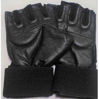 Leather Multipurpose GYM Gloves With Padded Palm Support Net Upside, Size- 20/12 cm