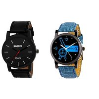 Gen-Z Combo Of 2 Youth Denim And Royal Black Watches