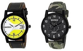 Gen-Z Combo Of 2 Youth Yellow And Army Watches