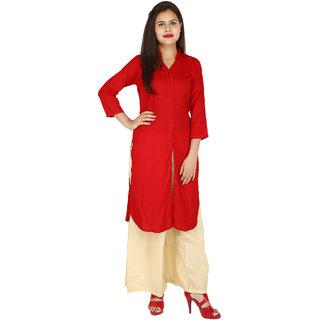 fcf1aa24a7 Buy Ramesh Vastra Bhandar Straight Red Color Rayon Kurti Online ...