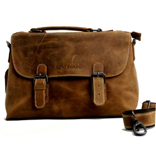 Gino Romano Real Leather Satchel Office Laptop Bag