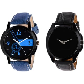 HRV KJR-6,8 Round Black Dial Analog Watch Combo for Men