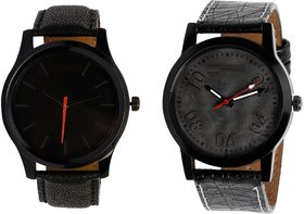 HRV KJR-12,3 Round Black Dial Analog Watch Combo for Men