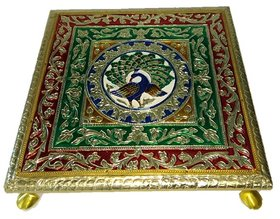 Wooden Chowki Stool/Decorative Small Side Table/Bajot Table for Pooja Room 10 INCH