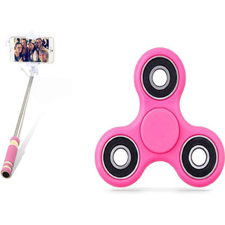 Accincart combo of mini selfie and pink spinning toy