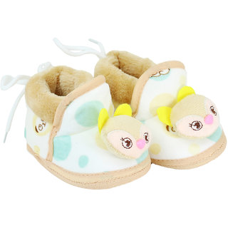 Neska Moda Baby Boys And Girls Soft Brown Cotton Fur Booties For 0 To 12 Month BT165