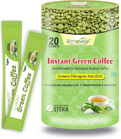 Zindagi Instant Green Coffee Powder - Weight Loss Powder - Natural Green Coffee Beans Powder 20 Sachets