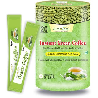 Zindagi Instant Green Coffee Powder - Weight Loss Powder - Natural Green Coffee Beans Powder 20 Sachets