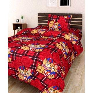 mahadev texo fab SINGLE 3D bedsheet with 1 pillow cover