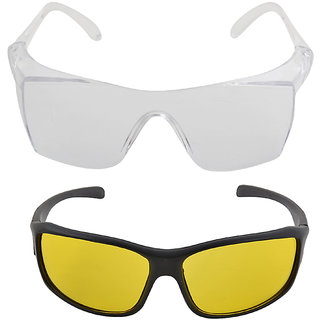 9058421b7b NIGHT VISION DRIVING TRANSPARENT OR YELLOW SUNGLASSES FOR DAY AND NIGHT OR  INDUSTRIAL GLASSES DRIVING GLASSES