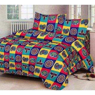 mahadev texo fab 3D bedsheet with 2 pillow cover