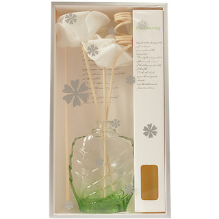 Skycandle Glass Flower Vase with Artificial Flower in Reed Stick Aroma Scented Reed Diffuser, (Green)