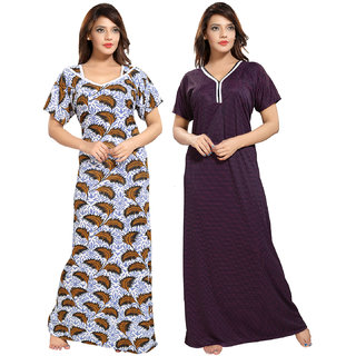Be You Multicolor Printed Night Gowns Combo Pack of 2