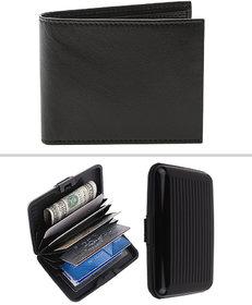 Jack Klein Combo of Black Leatherite Wallet And Aluma Aluminium Cash Credit Card Holder Wallet